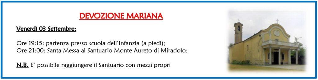 Devozione Mariana - Camminata fino al Monte Aureto @ Scuola dell'Infanzia - Santuario Monte Aureto di Miradolo